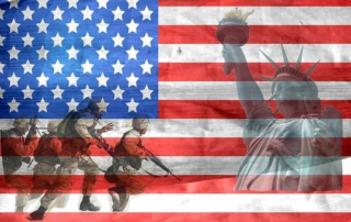 American Flag with Statue of Liberty and Army Inlaid