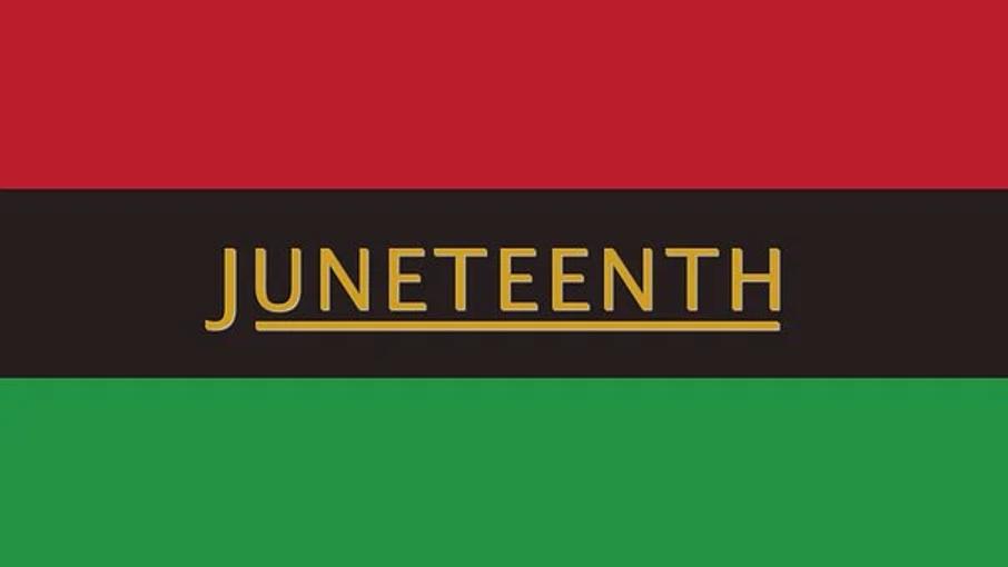 Juneteenth flag, red, black, green line